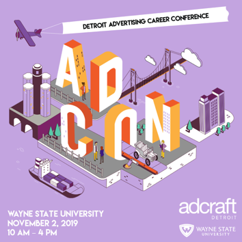 Advertisement for ADCON conference. Wayne State University. November 2, 2019. 10 A.M. until 4 P.M.
