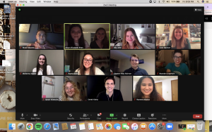 A screenshot of a Zoom video call session. Multiple students are on the call.